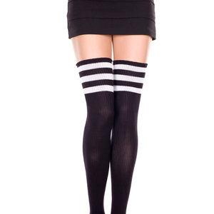 Black & White Striped American Apparel Thigh Highs